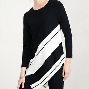 Alfani Petite Striped Asymmetrical Tunic Sweater